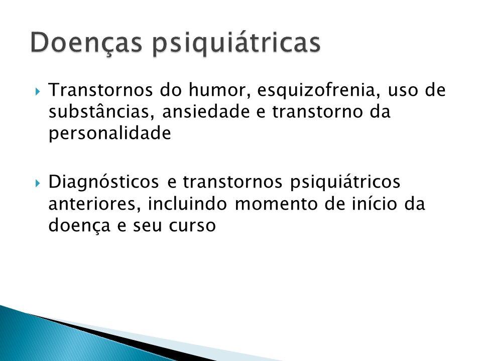 Transtornos do humor, esquizofrenia, uso de substâncias, ansiedade e transtorno da personalidade Diagnósticos e transtornos psiquiátricos anteriores,