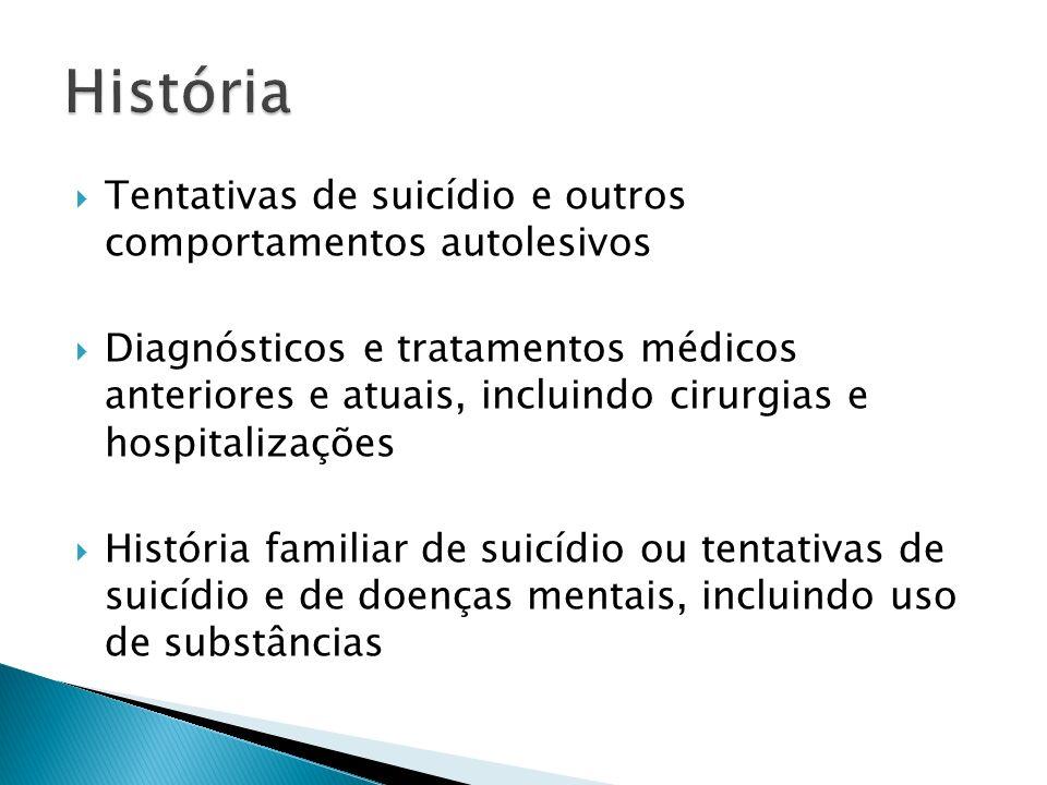 Tentativas de suicídio e outros comportamentos autolesivos Diagnósticos e tratamentos médicos anteriores e atuais, incluindo cirurgias e hospitalizaçõ