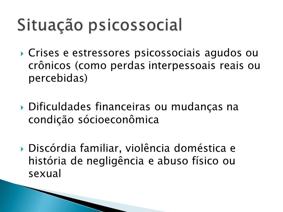 Crises e estressores psicossociais agudos ou crônicos (como perdas interpessoais reais ou percebidas) Dificuldades financeiras ou mudanças na condição
