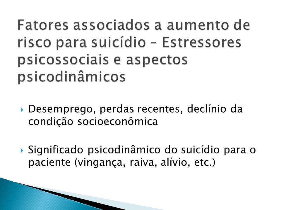 Desemprego, perdas recentes, declínio da condição socioeconômica Significado psicodinâmico do suicídio para o paciente (vingança, raiva, alívio, etc.)
