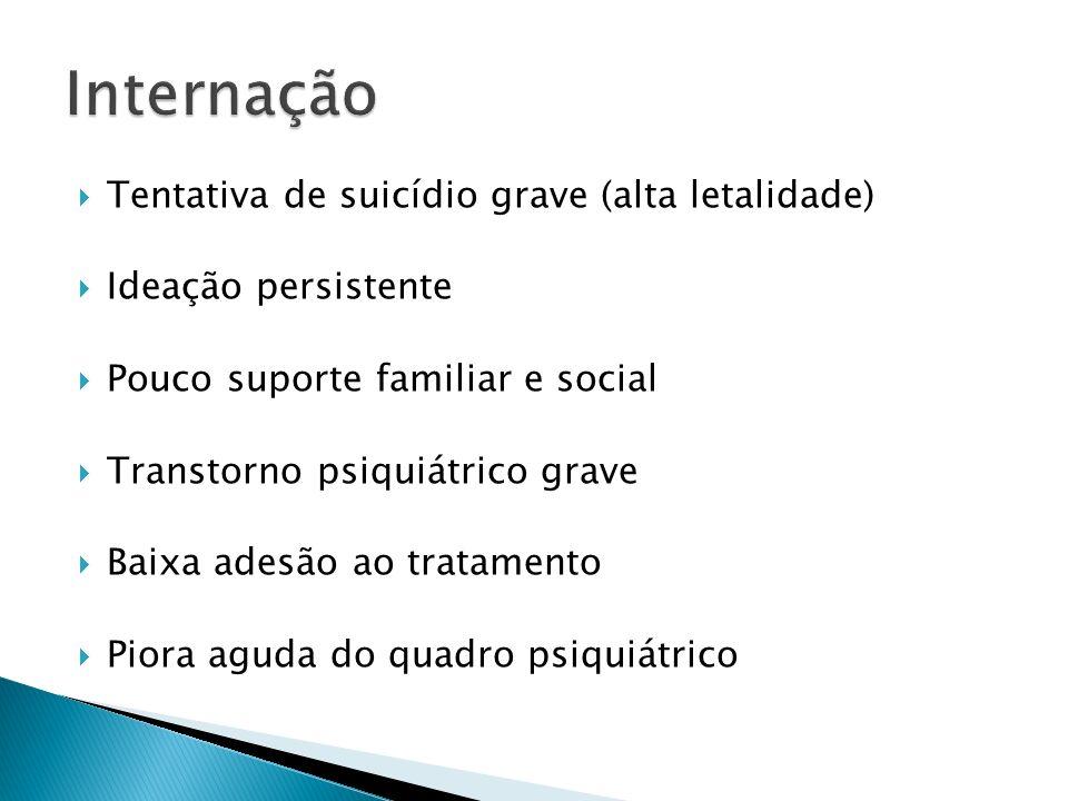 Tentativa de suicídio grave (alta letalidade) Ideação persistente Pouco suporte familiar e social Transtorno psiquiátrico grave Baixa adesão ao tratam