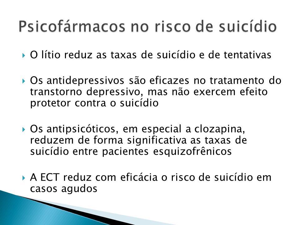 O lítio reduz as taxas de suicídio e de tentativas Os antidepressivos são eficazes no tratamento do transtorno depressivo, mas não exercem efeito prot