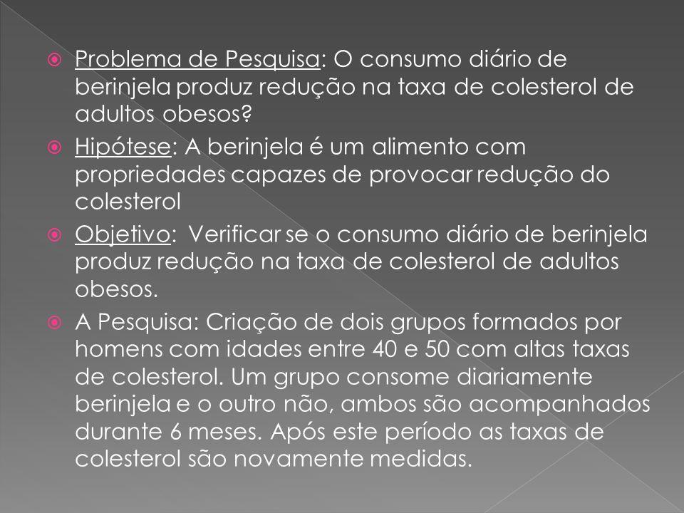 Problema de Pesquisa: O consumo diário de berinjela produz redução na taxa de colesterol de adultos obesos? Hipótese: A berinjela é um alimento com pr