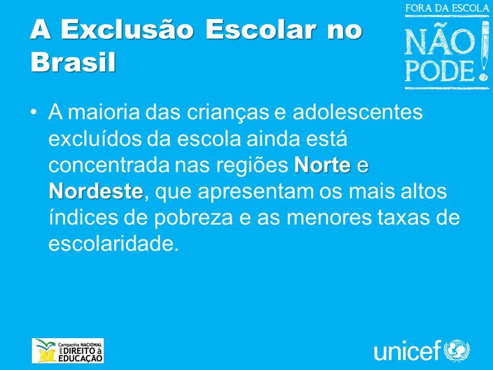 A Exclusão Escolar no Brasil Norte e NordesteA maioria das crianças e adolescentes excluídos da escola ainda está concentrada nas regiões Norte e Nord