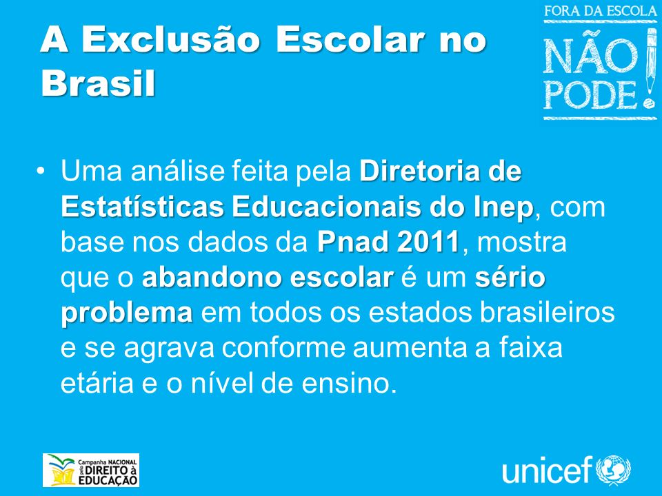 A Exclusão Escolar no Brasil Diretoria de Estatísticas Educacionais do Inep Pnad 2011 abandono escolar sério problemaUma análise feita pela Diretoria
