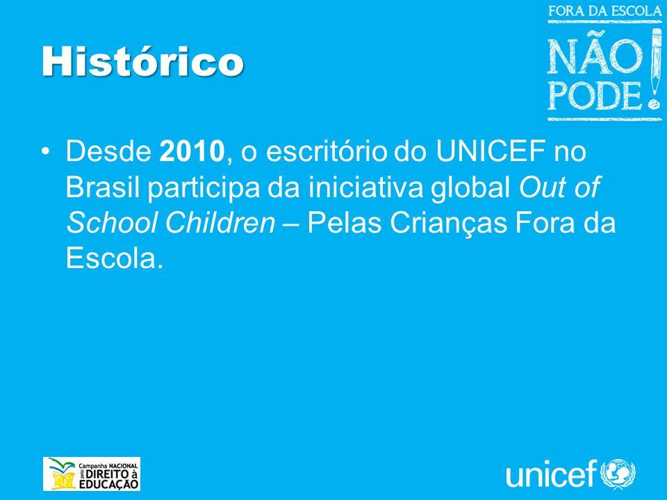 Desde 2010, o escritório do UNICEF no Brasil participa da iniciativa global Out of School Children – Pelas Crianças Fora da Escola. Histórico