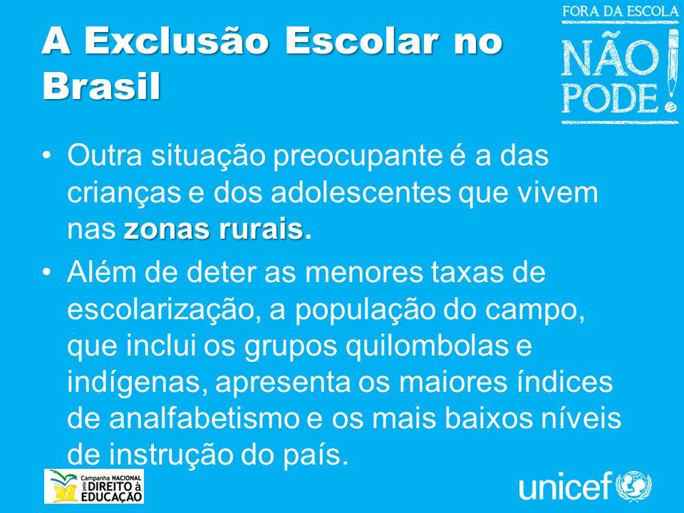 A Exclusão Escolar no Brasil zonas ruraisOutra situação preocupante é a das crianças e dos adolescentes que vivem nas zonas rurais. Além de deter as m