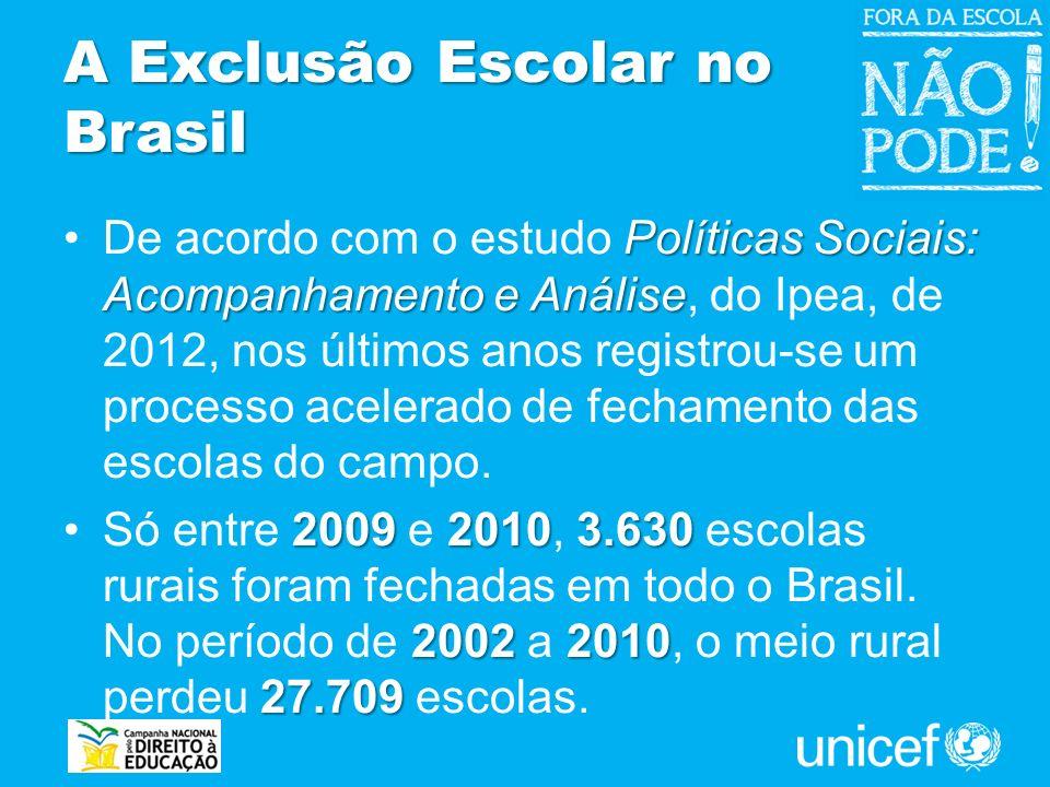 A Exclusão Escolar no Brasil Políticas Sociais: Acompanhamento e AnáliseDe acordo com o estudo Políticas Sociais: Acompanhamento e Análise, do Ipea, d