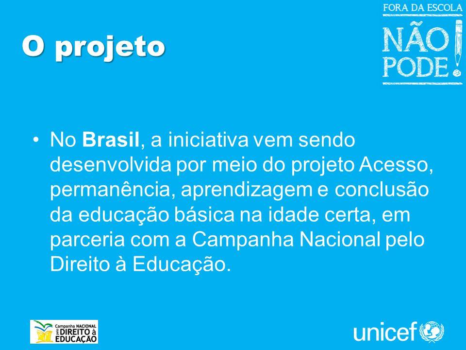 No Brasil, a iniciativa vem sendo desenvolvida por meio do projeto Acesso, permanência, aprendizagem e conclusão da educação básica na idade certa, em