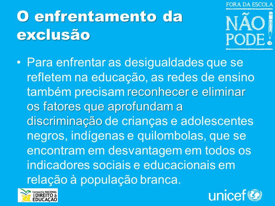 O enfrentamento da exclusão reconhecer e eliminar os fatores que aprofundam a discriminaçãoPara enfrentar as desigualdades que se refletem na educação