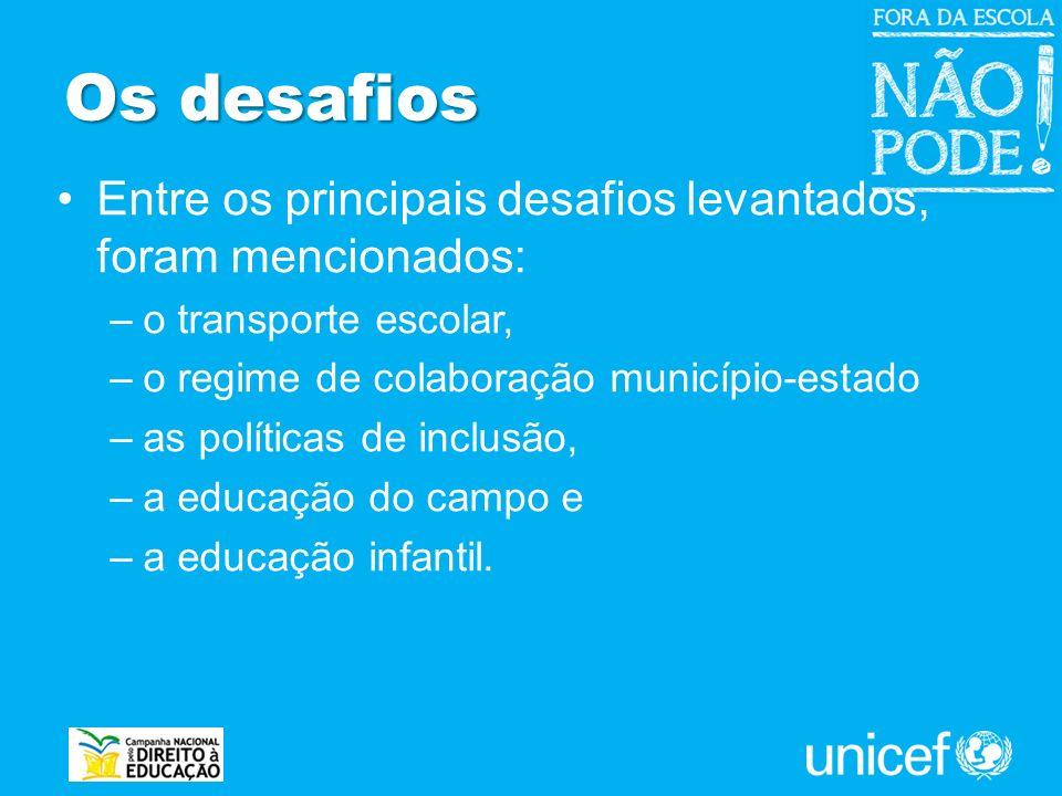 Os desafios Entre os principais desafios levantados, foram mencionados: –o transporte escolar, –o regime de colaboração município-estado –as políticas