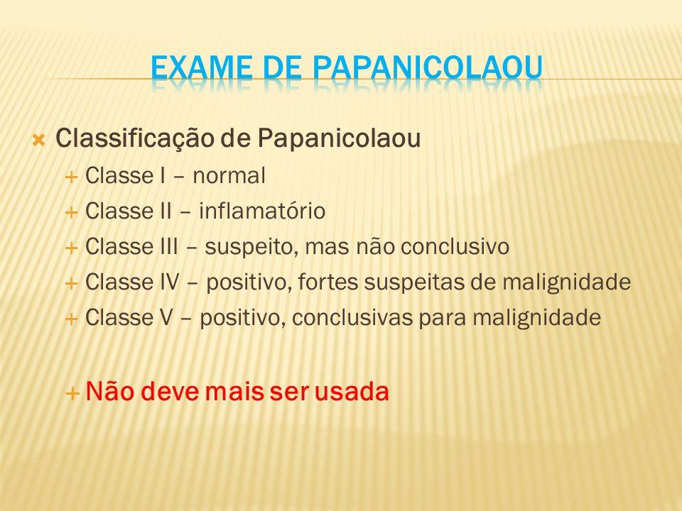 Classificação de Papanicolaou Classe I – normal Classe II – inflamatório Classe III – suspeito, mas não conclusivo Classe IV – positivo, fortes suspeitas de malignidade Classe V – positivo, conclusivas para malignidade Não deve mais ser usada