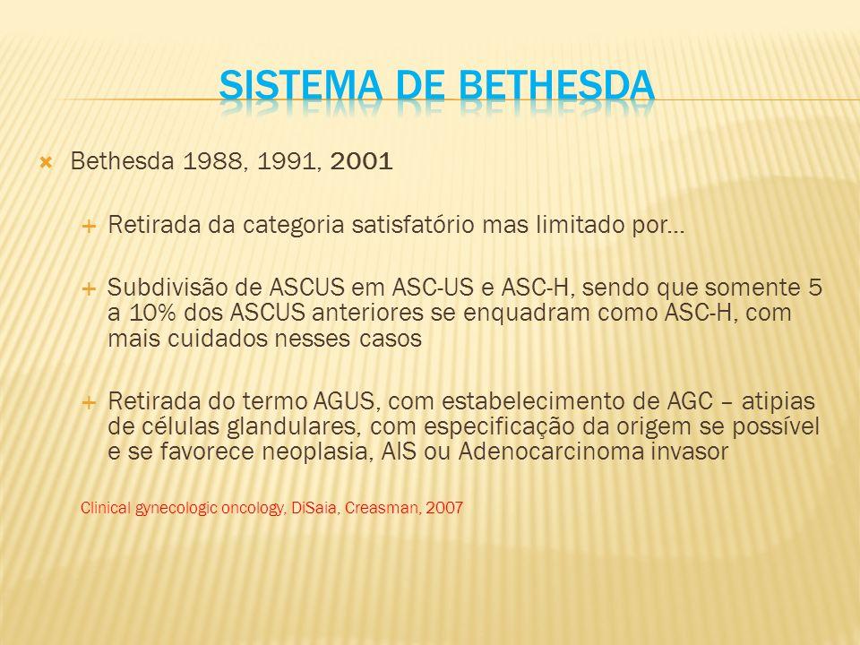 Bethesda 1988, 1991, 2001 Retirada da categoria satisfatório mas limitado por...