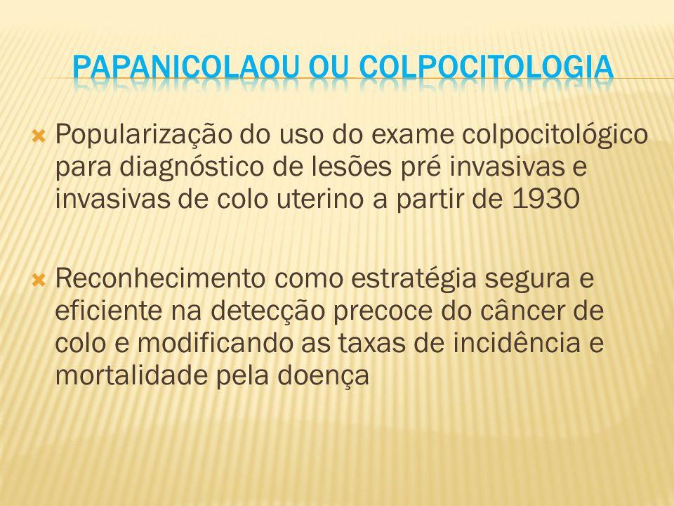 Deficiência no programa de rastreamento com Colpocitologia em diminuir as taxas de incidência e de mortalidade.