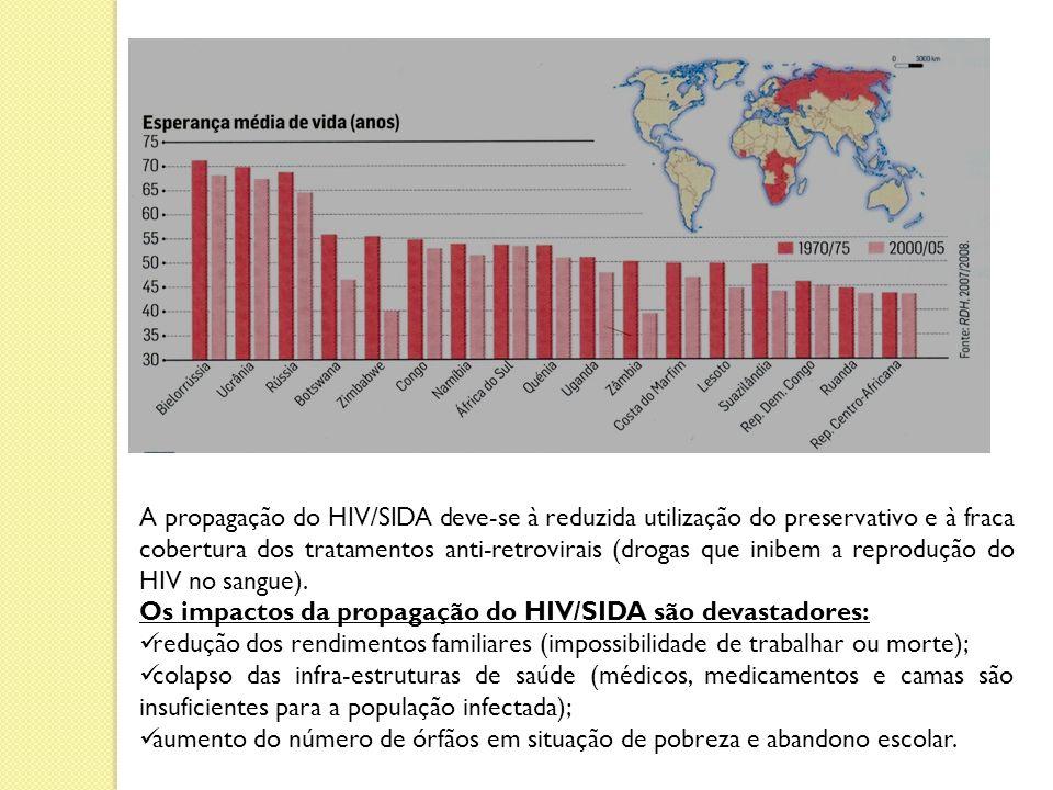 A propagação do HIV/SIDA deve-se à reduzida utilização do preservativo e à fraca cobertura dos tratamentos anti-retrovirais (drogas que inibem a reprodução do HIV no sangue).
