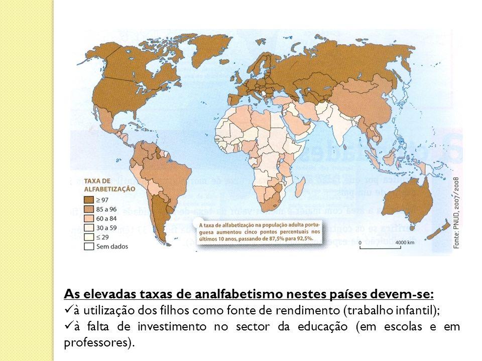 As elevadas taxas de analfabetismo nestes países devem-se: à utilização dos filhos como fonte de rendimento (trabalho infantil); à falta de investimento no sector da educação (em escolas e em professores).
