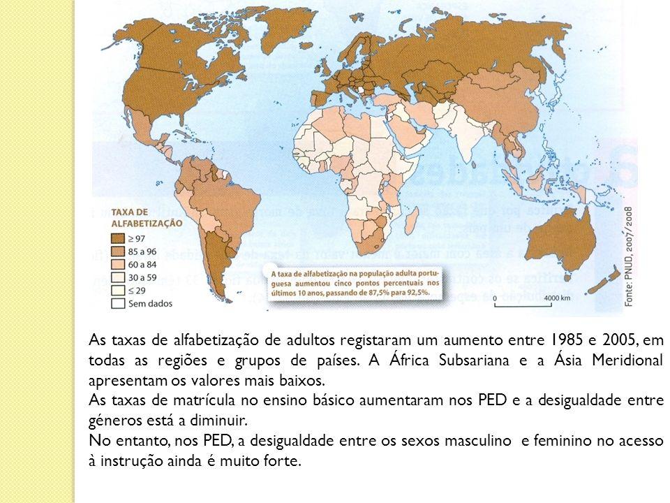 As taxas de alfabetização de adultos registaram um aumento entre 1985 e 2005, em todas as regiões e grupos de países.