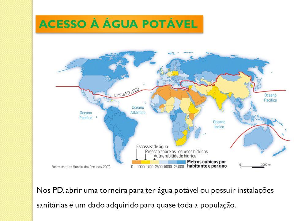 ACESSO À ÁGUA POTÁVEL Nos PD, abrir uma torneira para ter água potável ou possuir instalações sanitárias é um dado adquirido para quase toda a população.