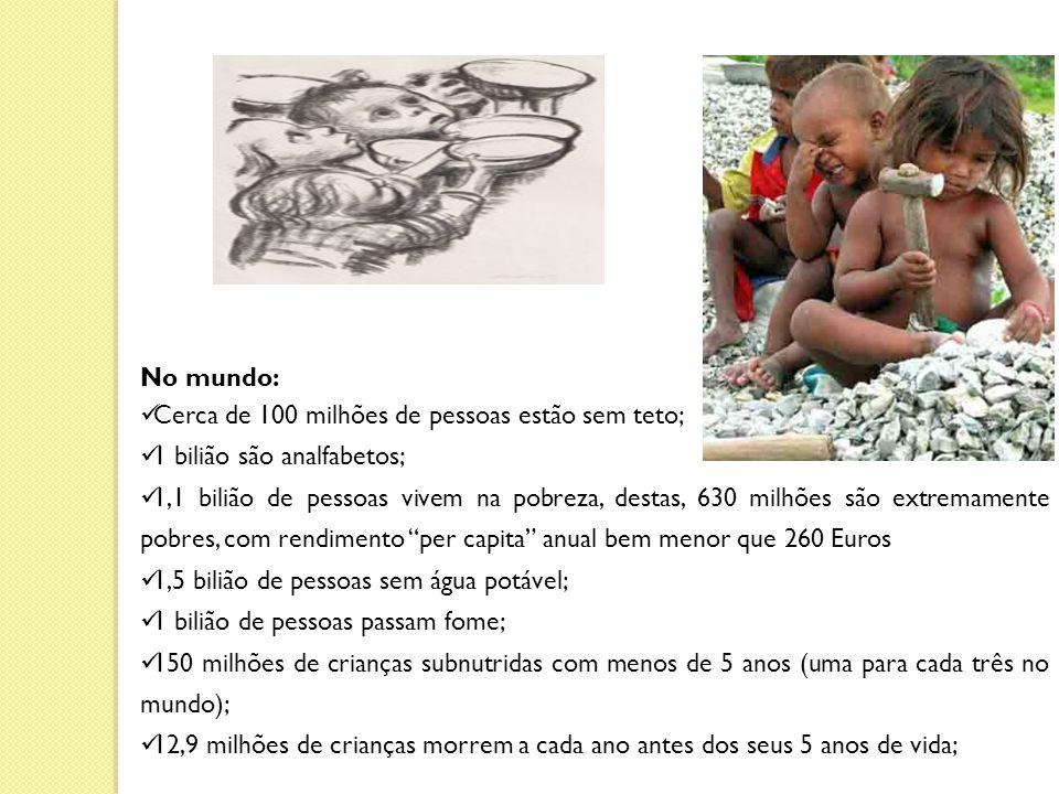 No mundo: Cerca de 100 milhões de pessoas estão sem teto; 1 bilião são analfabetos; 1,1 bilião de pessoas vivem na pobreza, destas, 630 milhões são extremamente pobres, com rendimento per capita anual bem menor que 260 Euros 1,5 bilião de pessoas sem água potável; 1 bilião de pessoas passam fome; 150 milhões de crianças subnutridas com menos de 5 anos (uma para cada três no mundo); 12,9 milhões de crianças morrem a cada ano antes dos seus 5 anos de vida;