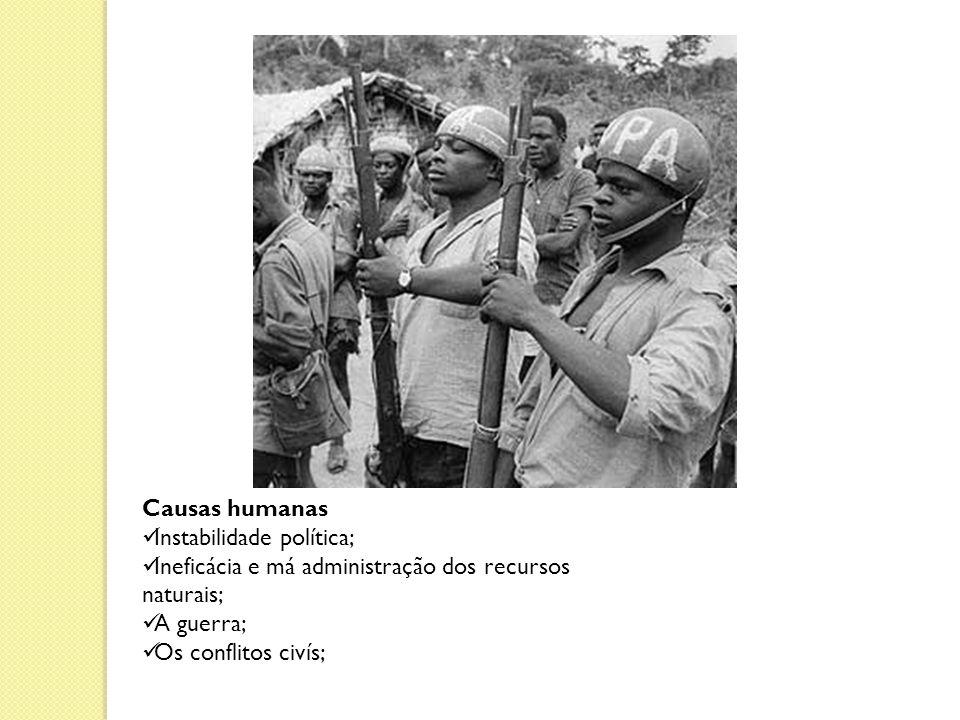 Causas humanas Instabilidade política; Ineficácia e má administração dos recursos naturais; A guerra; Os conflitos civís;
