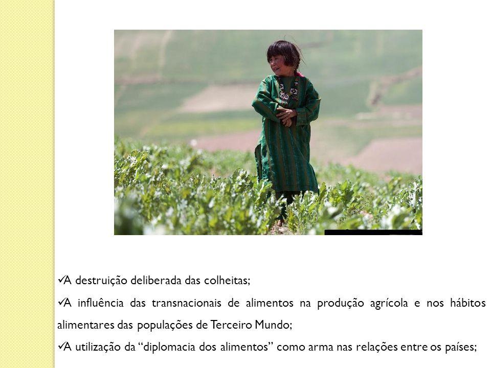 A destruição deliberada das colheitas; A influência das transnacionais de alimentos na produção agrícola e nos hábitos alimentares das populações de Terceiro Mundo; A utilização da diplomacia dos alimentos como arma nas relações entre os países;