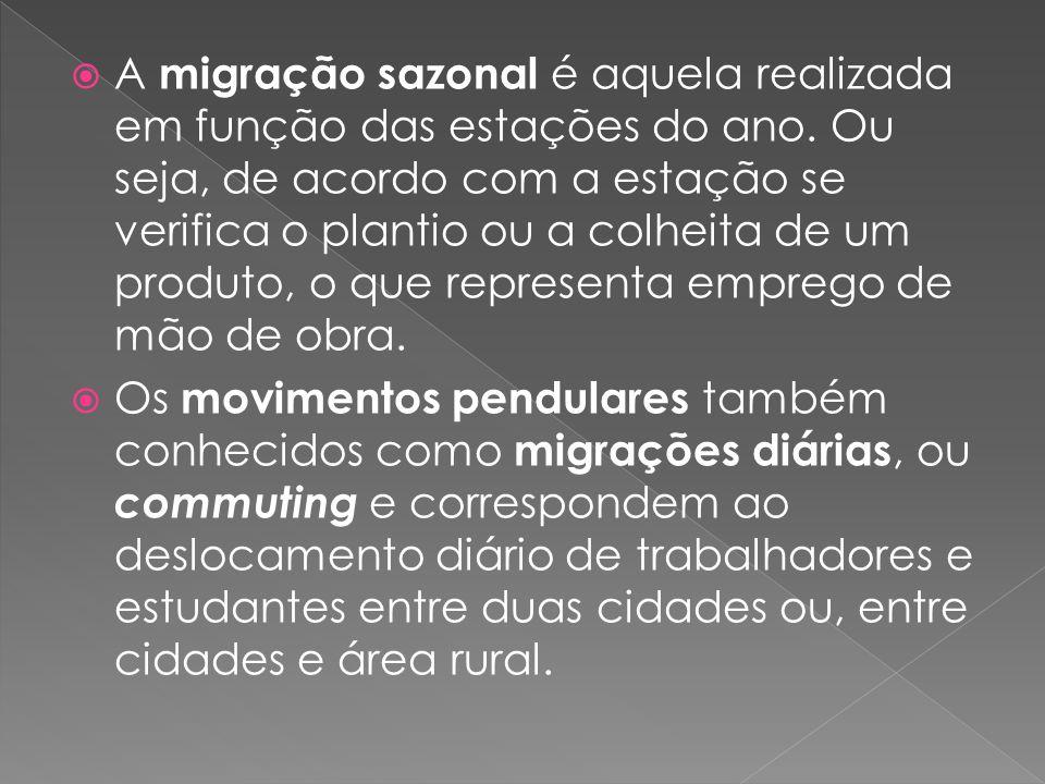 A migração sazonal é aquela realizada em função das estações do ano. Ou seja, de acordo com a estação se verifica o plantio ou a colheita de um produt