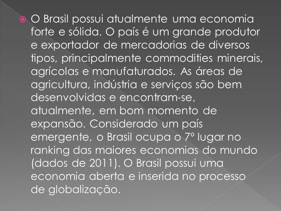O Brasil possui atualmente uma economia forte e sólida. O país é um grande produtor e exportador de mercadorias de diversos tipos, principalmente comm