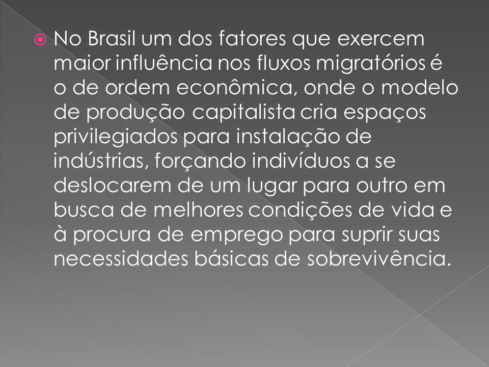 No Brasil um dos fatores que exercem maior influência nos fluxos migratórios é o de ordem econômica, onde o modelo de produção capitalista cria espaço
