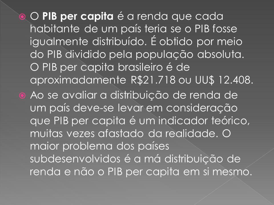 O PIB per capita é a renda que cada habitante de um país teria se o PIB fosse igualmente distribuído. É obtido por meio do PIB dividido pela população