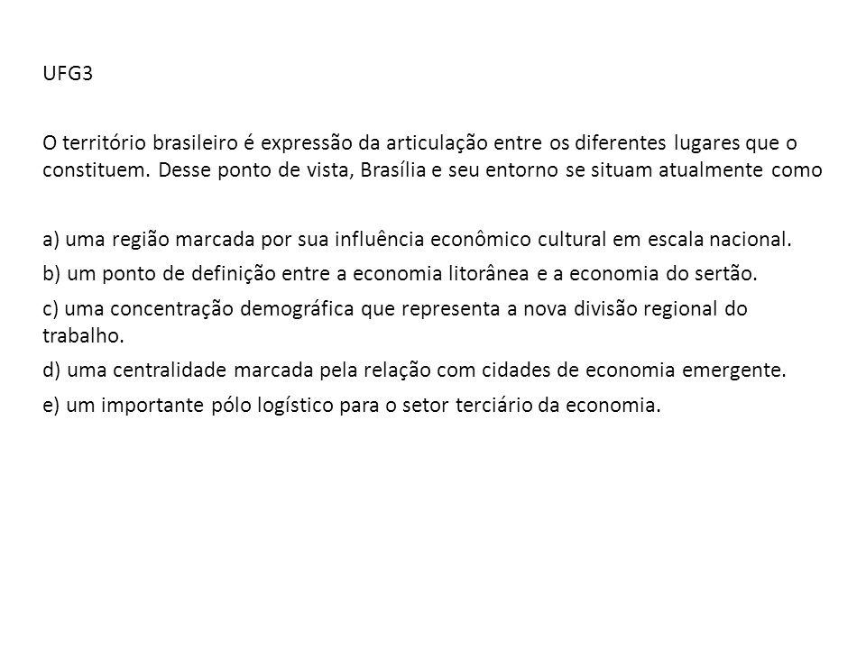 UFG3 O território brasileiro é expressão da articulação entre os diferentes lugares que o constituem. Desse ponto de vista, Brasília e seu entorno se