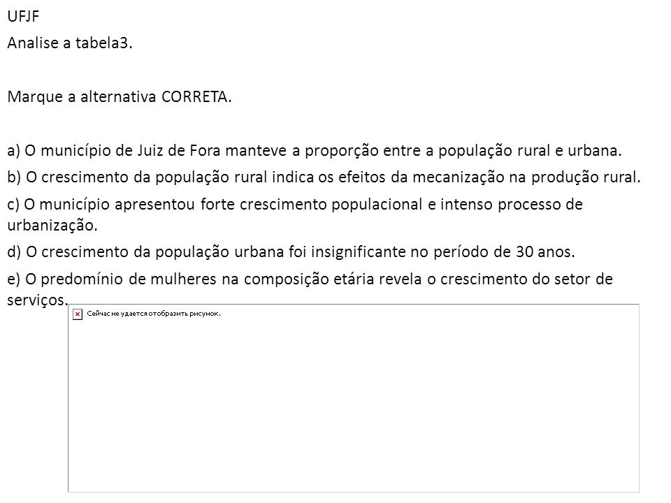 UFJF Analise a tabela3. Marque a alternativa CORRETA. a) O município de Juiz de Fora manteve a proporção entre a população rural e urbana. b) O cresci