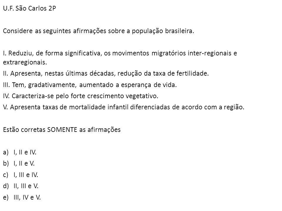 U.F. São Carlos 2P Considere as seguintes afirmações sobre a população brasileira. I. Reduziu, de forma significativa, os movimentos migratórios inter