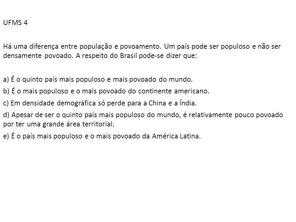 UFMS 4 Há uma diferença entre população e povoamento. Um país pode ser populoso e não ser densamente povoado. A respeito do Brasil pode-se dizer que: