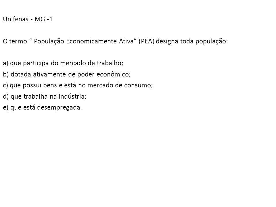 Unifenas - MG -1 O termo População Economicamente Ativa (PEA) designa toda população: a) que participa do mercado de trabalho; b) dotada ativamente de