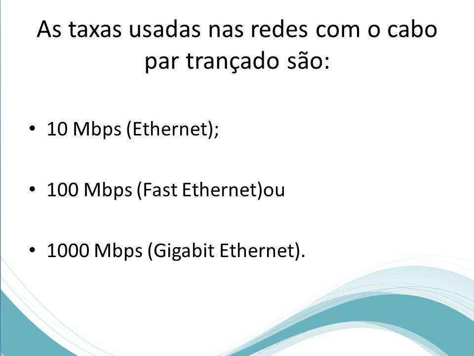 As taxas usadas nas redes com o cabo par trançado são: 10 Mbps (Ethernet); 100 Mbps (Fast Ethernet)ou 1000 Mbps (Gigabit Ethernet).