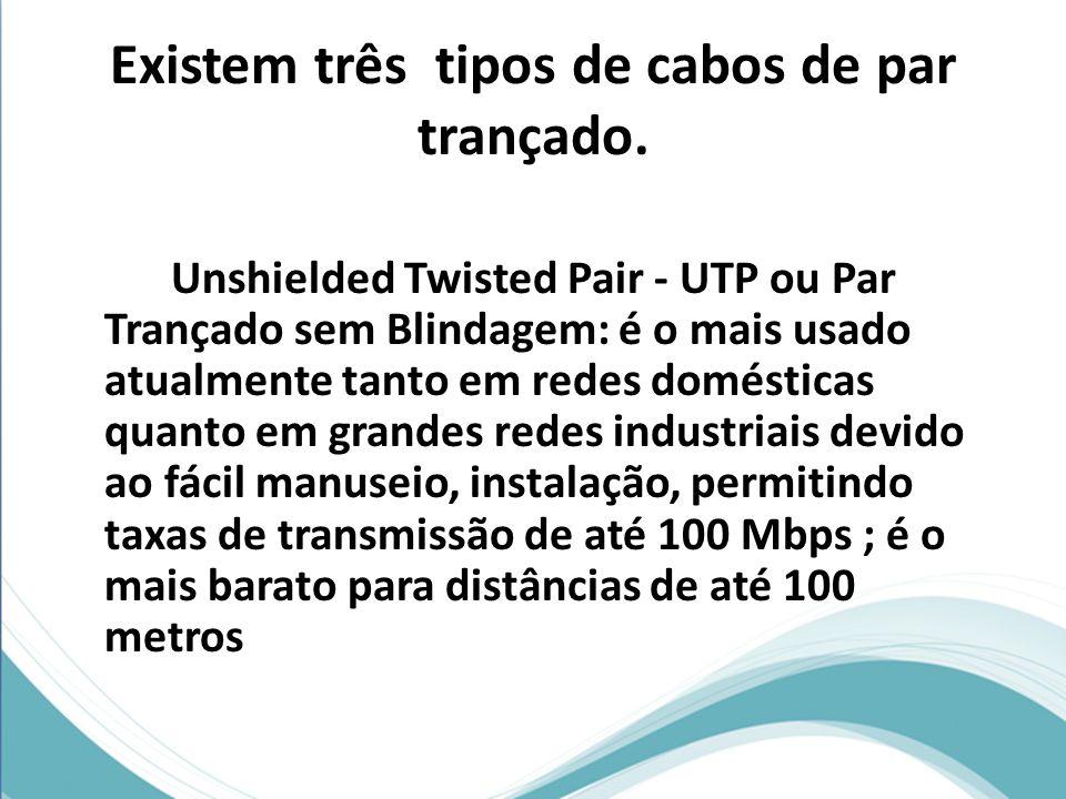 Existem três tipos de cabos de par trançado. Unshielded Twisted Pair - UTP ou Par Trançado sem Blindagem: é o mais usado atualmente tanto em redes dom
