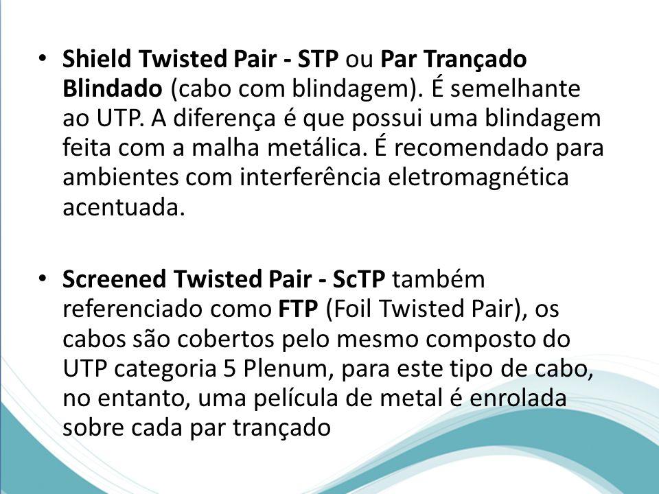 Shield Twisted Pair - STP ou Par Trançado Blindado (cabo com blindagem). É semelhante ao UTP. A diferença é que possui uma blindagem feita com a malha
