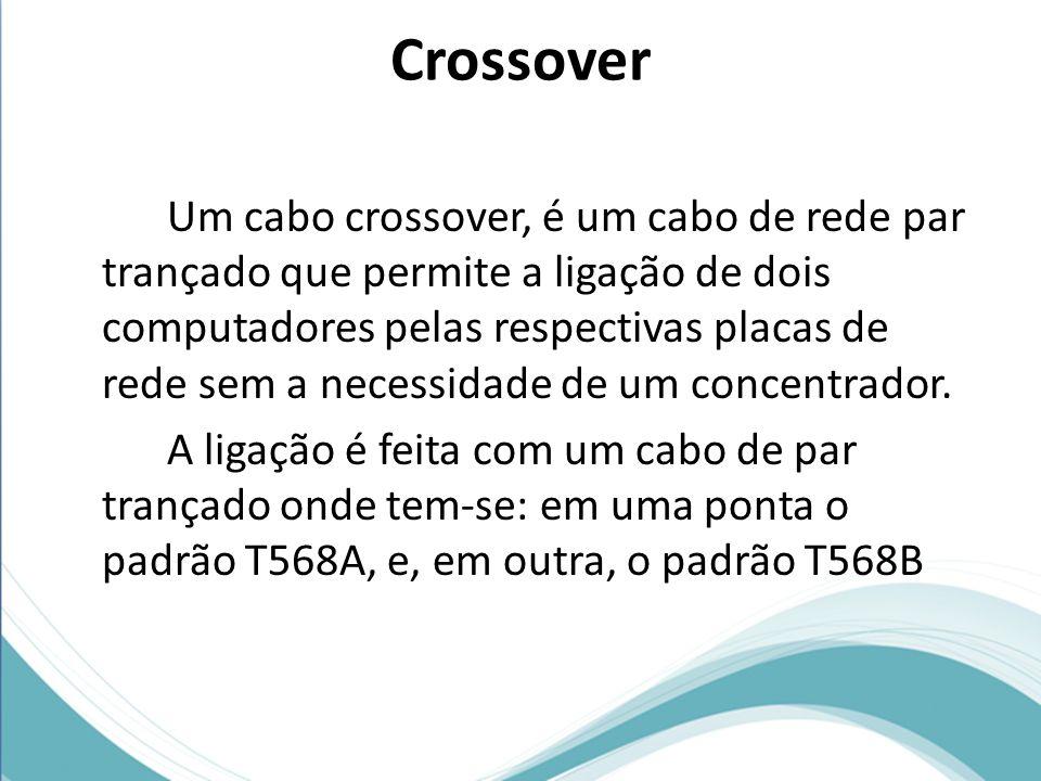 Crossover Um cabo crossover, é um cabo de rede par trançado que permite a ligação de dois computadores pelas respectivas placas de rede sem a necessid
