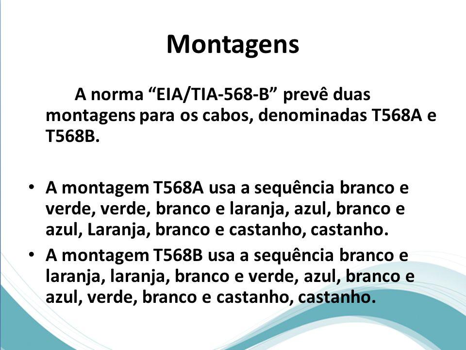 Montagens A norma EIA/TIA-568-B prevê duas montagens para os cabos, denominadas T568A e T568B. A montagem T568A usa a sequência branco e verde, verde,