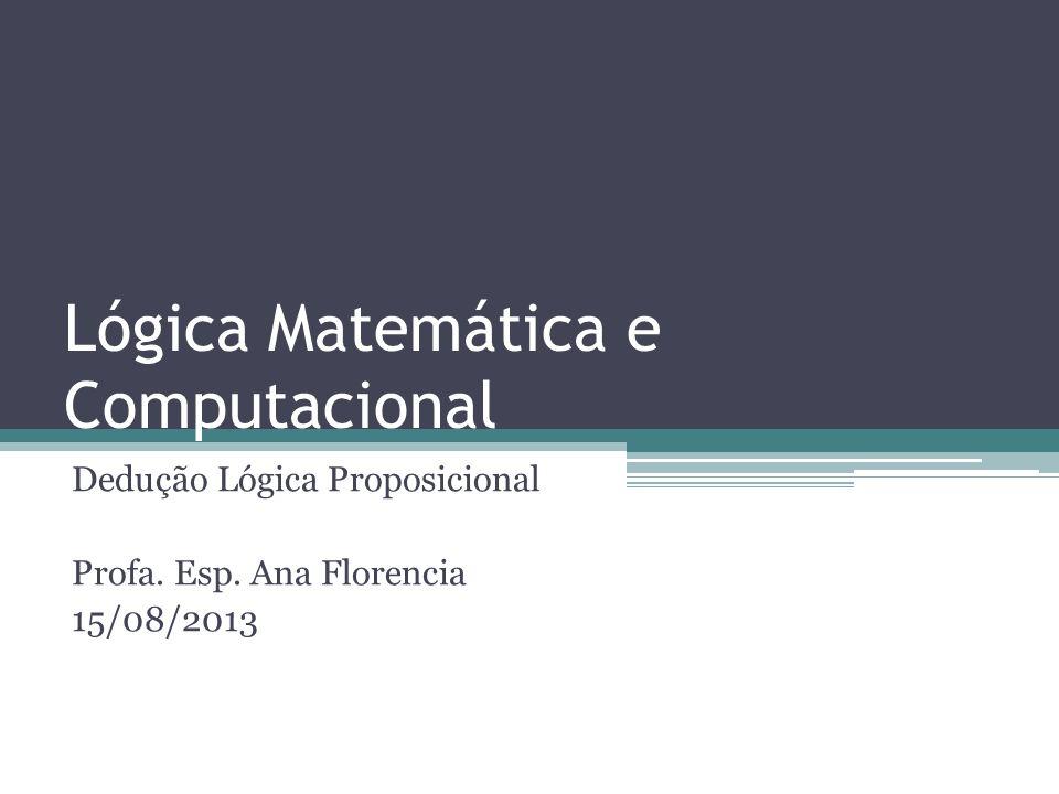 Lógica Matemática e Computacional Dedução Lógica Proposicional Profa. Esp. Ana Florencia 15/08/2013