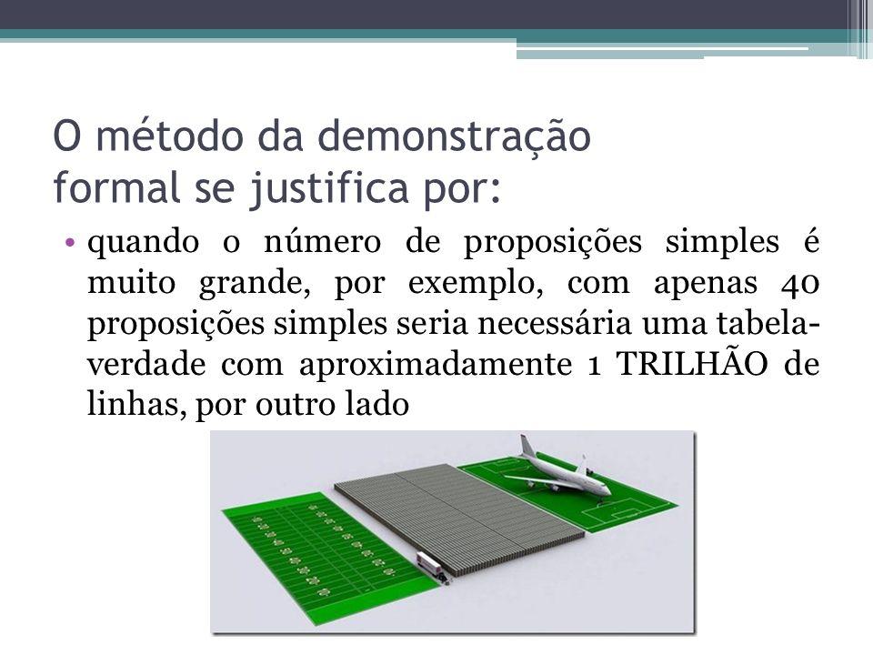 O método da demonstração formal se justifica por: quando o número de proposições simples é muito grande, por exemplo, com apenas 40 proposições simples seria necessária uma tabela- verdade com aproximadamente 1 TRILHÃO de linhas, por outro lado