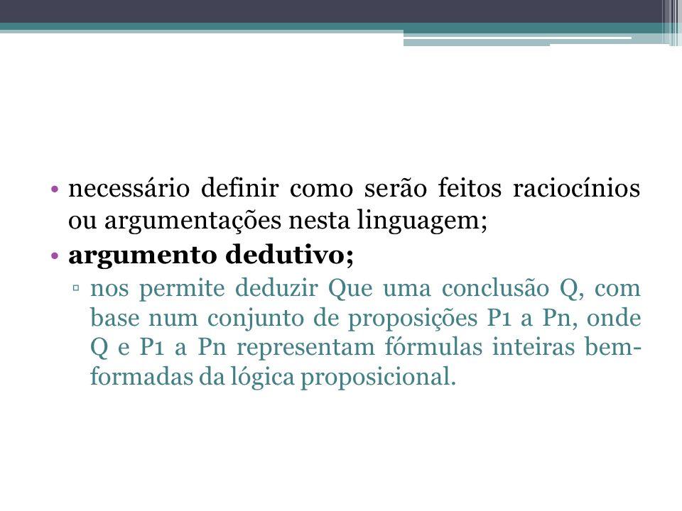 necessário definir como serão feitos raciocínios ou argumentações nesta linguagem; argumento dedutivo; nos permite deduzir Que uma conclusão Q, com base num conjunto de proposições P1 a Pn, onde Q e P1 a Pn representam fórmulas inteiras bem- formadas da lógica proposicional.