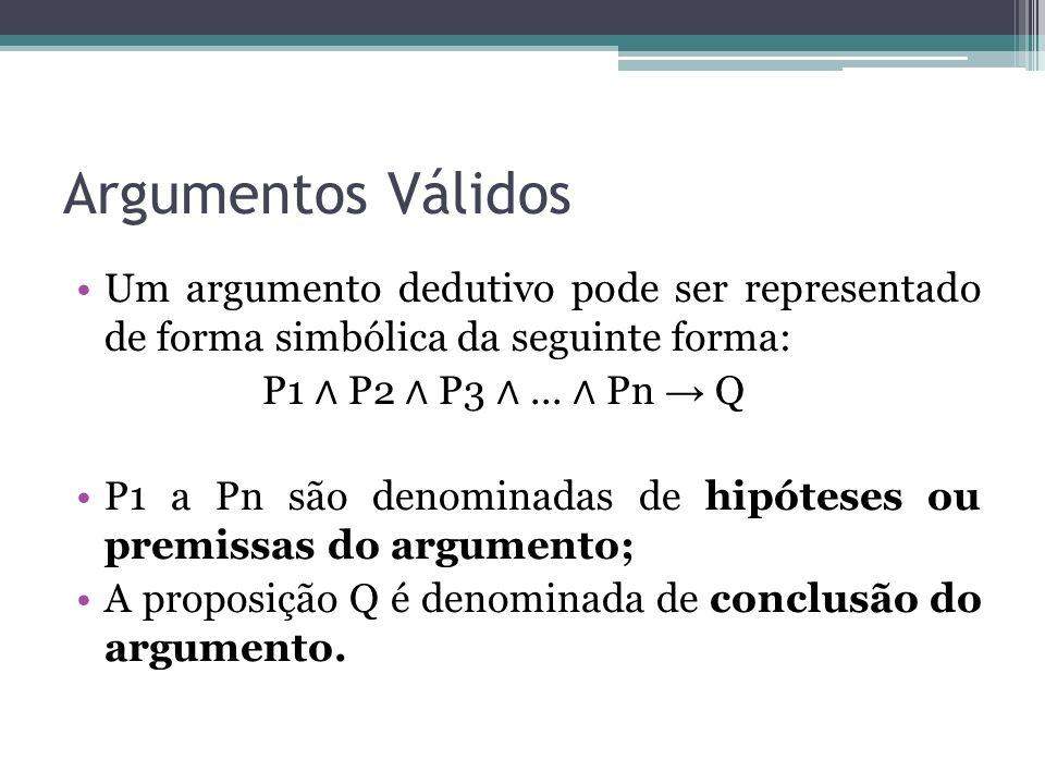Argumentos Válidos Um argumento dedutivo pode ser representado de forma simbólica da seguinte forma: P1 P2 P3...