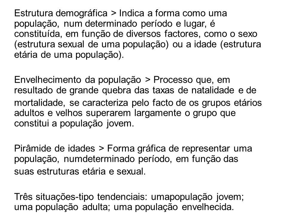 Estrutura demográfica > Indica a forma como uma população, num determinado período e lugar, é constituída, em função de diversos factores, como o sexo