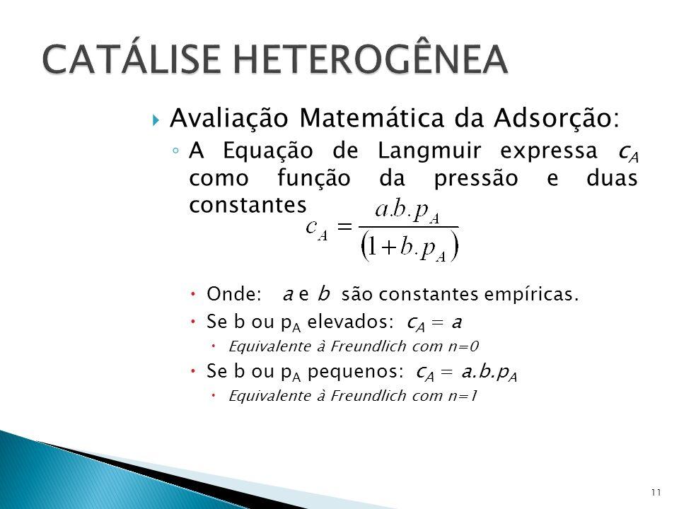 Avaliação Matemática da Adsorção: A Equação de Langmuir expressa c A como função da pressão e duas constantes Onde: a e b são constantes empíricas.