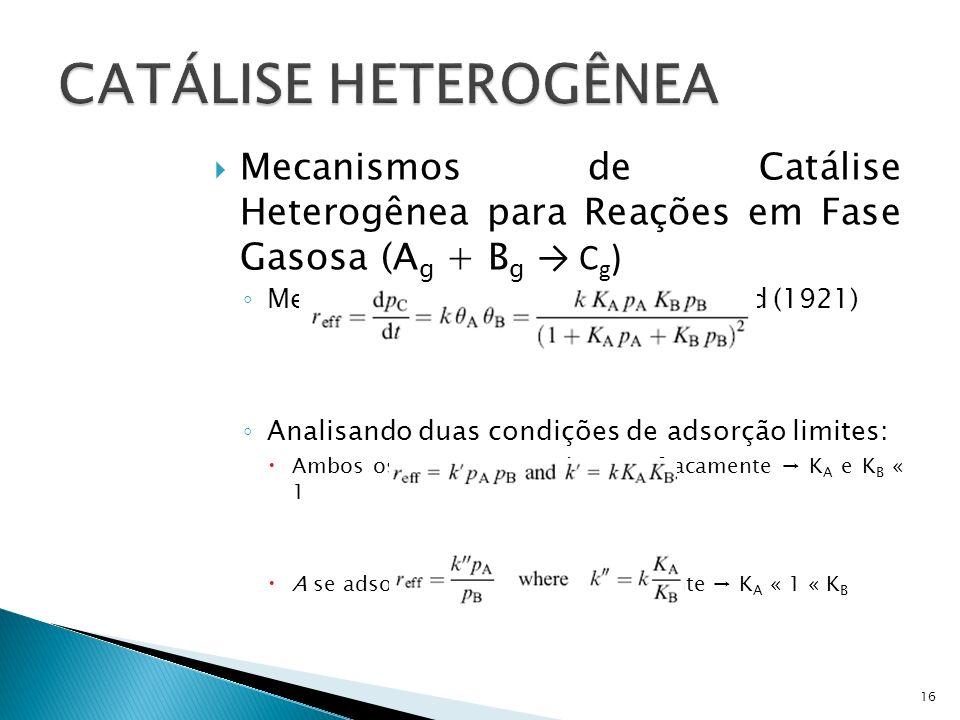 Mecanismos de Catálise Heterogênea para Reações em Fase Gasosa (A g + B g C g ) Mecanismo de Langmuir-Hinshelwood (1921) Analisando duas condições de adsorção limites: Ambos os reagentes se adsorvem fracamente K A e K B « 1 A se adsorve fracamente e B fortemente K A « 1 « K B 16