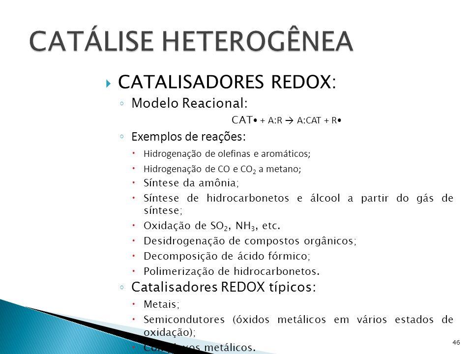 CATALISADORES REDOX: Modelo Reacional: CAT + A:R A:CAT + R Exemplos de reações: Hidrogenação de olefinas e aromáticos; Hidrogenação de CO e CO 2 a metano; Síntese da amônia; Síntese de hidrocarbonetos e álcool a partir do gás de síntese; Oxidação de SO 2, NH 3, etc.
