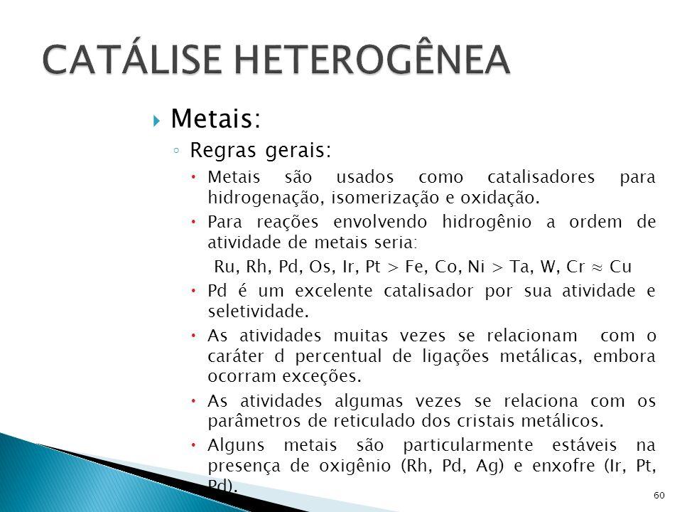 Metais: Regras gerais: Metais são usados como catalisadores para hidrogenação, isomerização e oxidação.