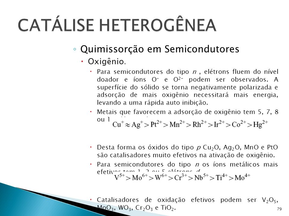 Quimissorção em Semicondutores Oxigênio.