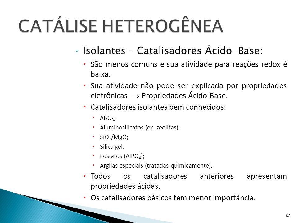 Isolantes – Catalisadores Ácido-Base: São menos comuns e sua atividade para reações redox é baixa.